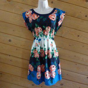 Just Ginger Blue Floral Summer Ties Back Dress S